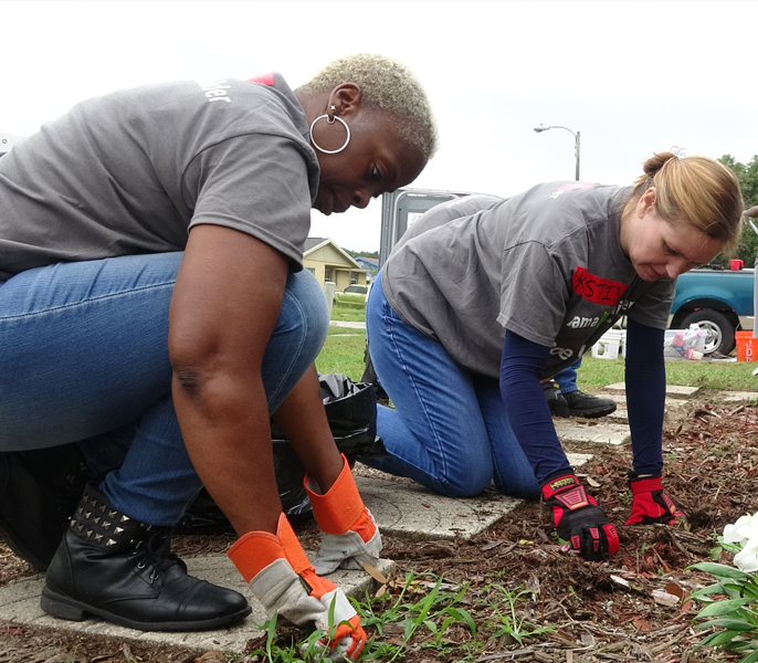 Two volunteers planting for Spectrum Housing Assist